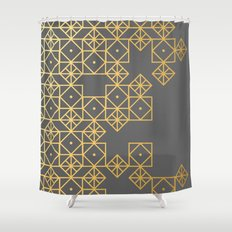 Geometric Gold Shower Curtain