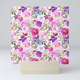 Elegant blush pink violet lavender watercolor summer floral Mini Art Print