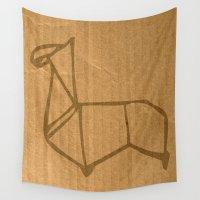 llama Wall Tapestries featuring Origami - Llama by Fernando Vieira