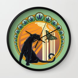 Jaguar Flowers Art Deco Wall Clock