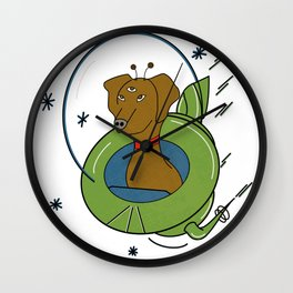 My Dog Is An Alien - Retro, Space Illustration  Wall Clock