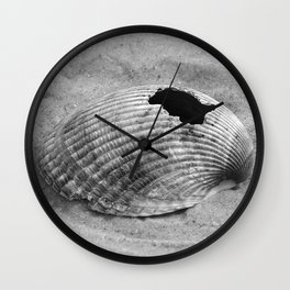 broken shell, black and white Wall Clock