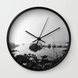 Foggy Harbor North Shore 4 BW Wall Clock