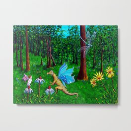 Discussion in the Woods Metal Print