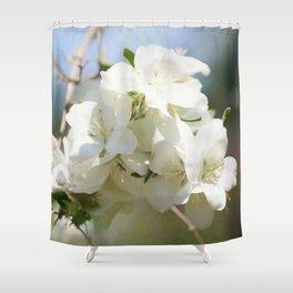 White Hawthorn Flowers Shower Curtain