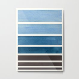 Green Blue Minimalist Watercolor Mid Century Staggered Stripes Rothko Color Block Geometric Art Metal Print