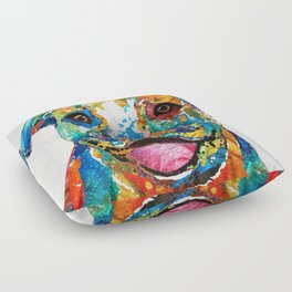 Colorful Dog Pit Bull Art - Happy - By Sharon Cummings Floor Pillow