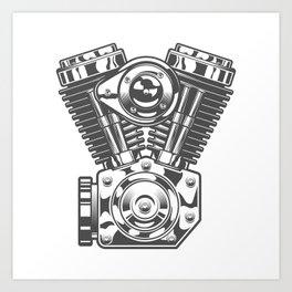 Vintage motorcycle engine in design fashion modern monochrome style illustration Art Print