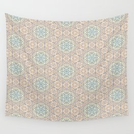 Seemless Pattern : White Snowflake Lace with Spectrum Background Wall Tapestry