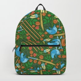 Blue helmet and cricket wickets on roses and balls field Backpack