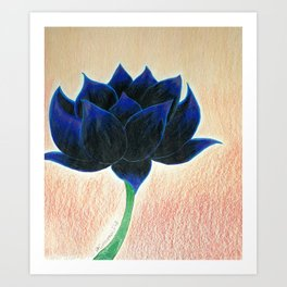 Black Lotus Flower Art Print