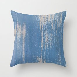 White on Blue Painted Wall Texture Throw Pillow