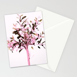 Little olive tree with pink tones on a white background Stationery Cards