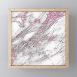 Gray & pink glitter faux messy marble texture Framed Mini Art Print