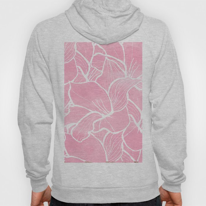 Modern white hand drawn abstrat floral pastel pink watercolor Hoody
