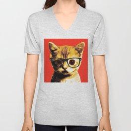 Pop Art Kitten with Glasses 3# Unisex V-Neck