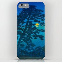 Vintage Japanese Woodblock Print Kawase Hasui Haunting Tree Silhouette At Night Moonlight iPhone Case