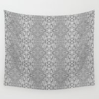 matrix Wall Tapestries featuring Matrix Recall Abstract Silver by Bud M