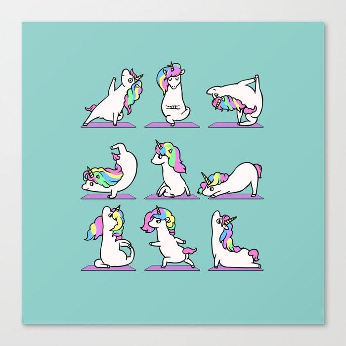Unicorn Yoga Leinwanddruck