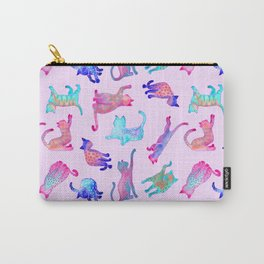 Rainbow Cats on Pink Carry-All Pouch