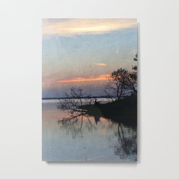 Island Sunset Silhouette Metal Print
