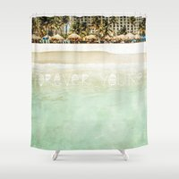 forever young Shower Curtains featuring Forever Young by Jenndalyn