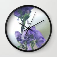 iris Wall Clocks featuring Iris by Bella Blue Photography