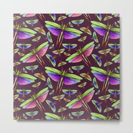 Rainbow Grasshoppers on Mulberry Metal Print