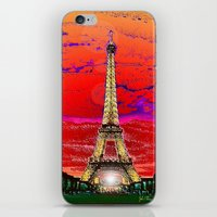 dark tower iPhone & iPod Skins featuring Eiffel Tower after dark by JT Digital Art