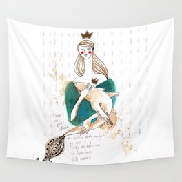 Girl and fish (careful) Wall Tapestry