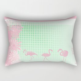 Baby Pink And Mint Green Flamingo Rectangular Pillow