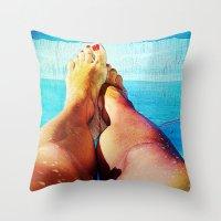feet Throw Pillows featuring Feet by Carol Mota