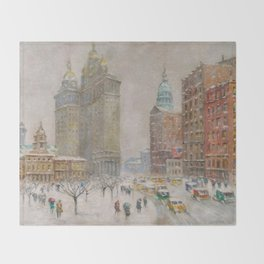 City Hall Park, The New York Scene, NYC skyline winter landscape painting by Guy Carleton Wiggins Throw Blanket