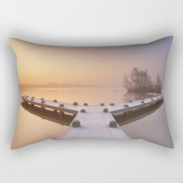 Jetty on a still lake on a foggy winter's morning Rectangular Pillow