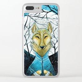 Lobo de Luna Clear iPhone Case