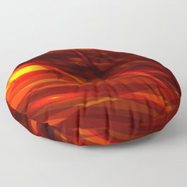Glowing cosmic orange background made of black red metallic lines. Floor Pillow