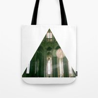 religious Tote Bags featuring Thank god, I'm not religious. by Kilian Guenthner