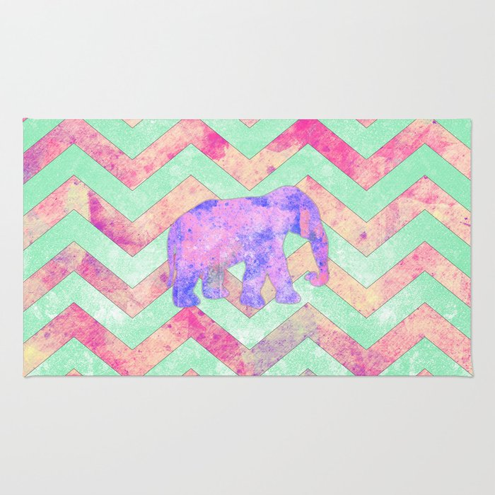 Whimsical Purple Elephant Mint Green Pink Chevron Rug By