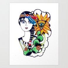 Cactus Eye Tattoo Style Art Print