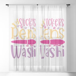 Stickers Pens Washi - Funny School humor - Cute typography - Lovely kid quotes illustration Sheer Curtain