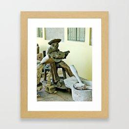 Jibaro Sculpture playing el Cuatro  Framed Art Print