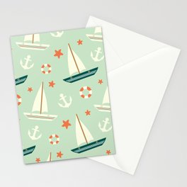 cute colorful sailboat pattern with anchor and lifebuoy Stationery Cards