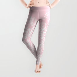 Mandala Bohemian Summer Blush Millennial Pink Floral illustration Leggings