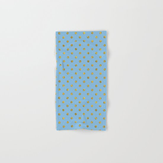 Gold polkadots on sky blue background Hand & Bath Towel