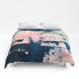 Candyland: a vibrant, colorful abstract piece in blue teal pink and gold by Alyssa Hamilton Art Comforters