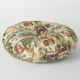 Vintage Victorian Christmas Collage Floor Pillow