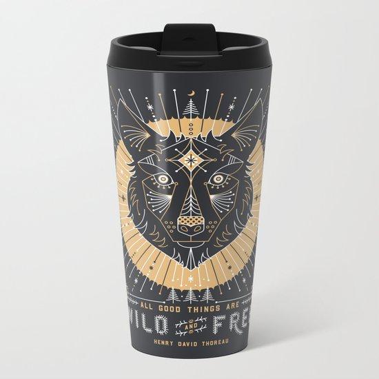 Wild & Free Wolf – Gold & Grey Metal Travel Mug