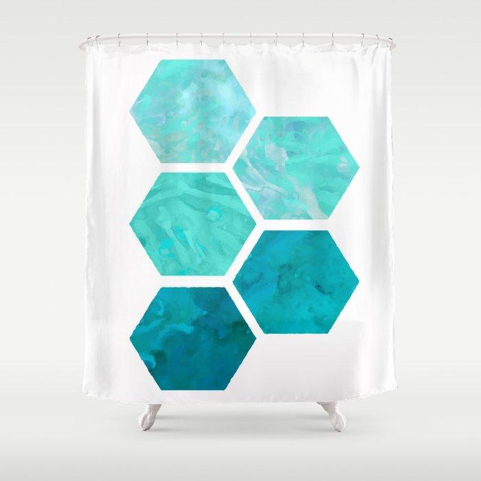 Blue polygon Shower Curtain