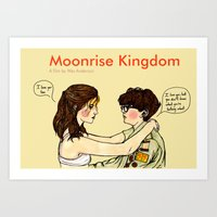 wes anderson Art Prints featuring Wes Anderson Prints: Moonrise Kingdom by Saffa Khan