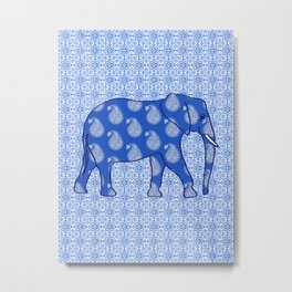 Paisley elephant, Cobalt Blue and White Metal Print